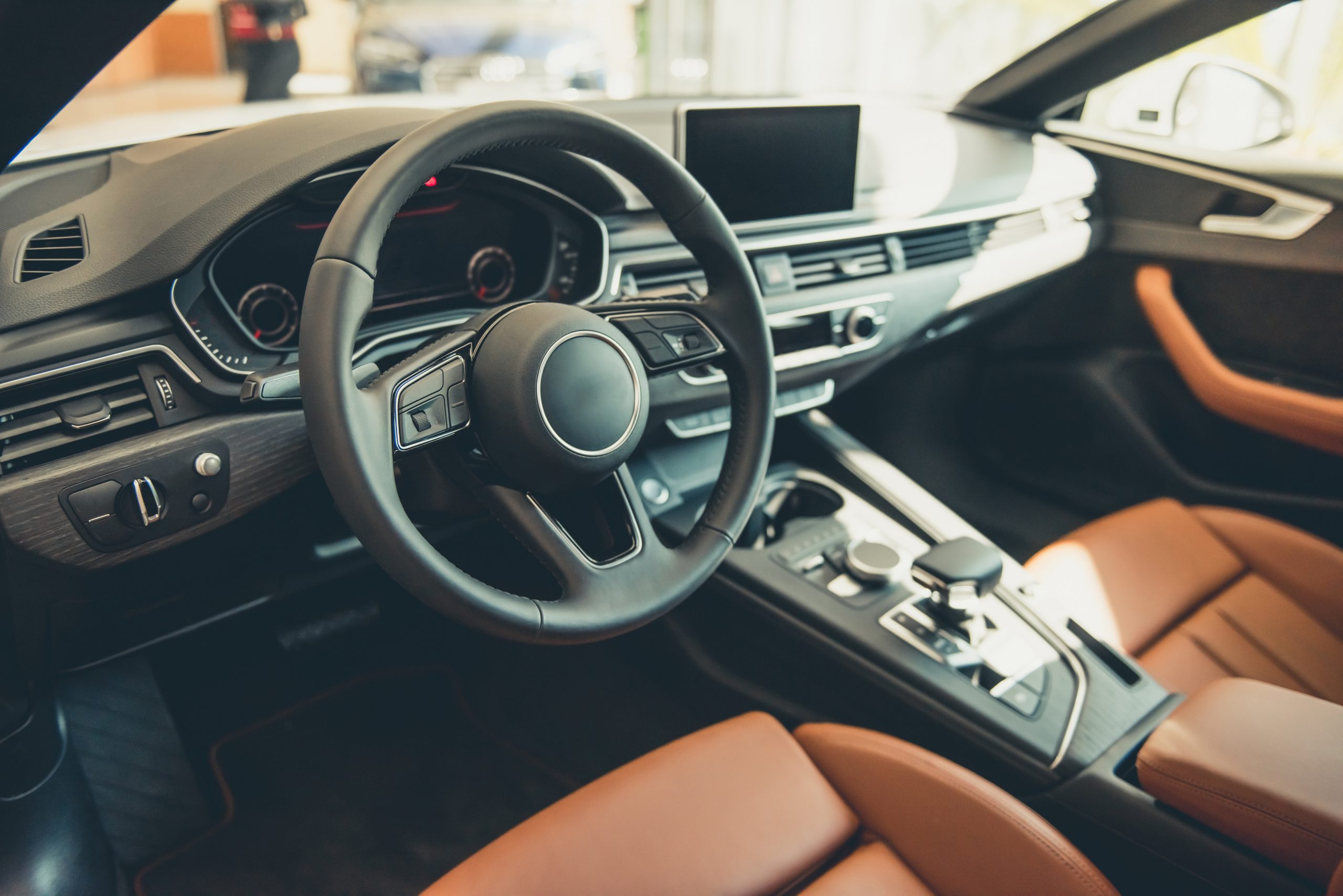 Interior of a new luxury car with loaded features